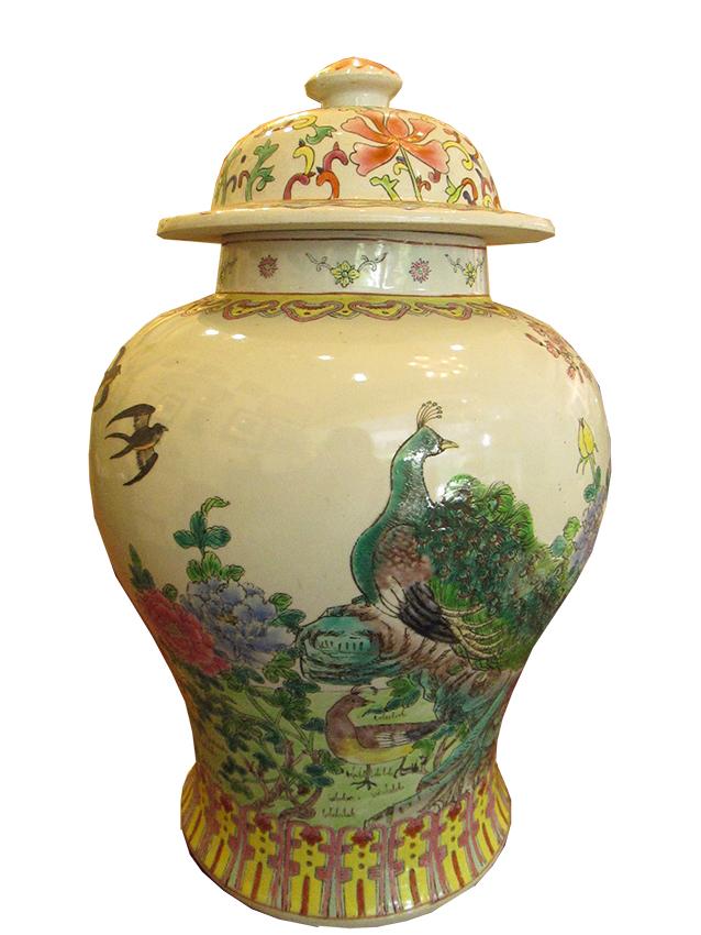 Chinese Lidded Jar_Peacock