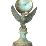 SEU 2799 Bronze eagle with fish eye clock on marble copy